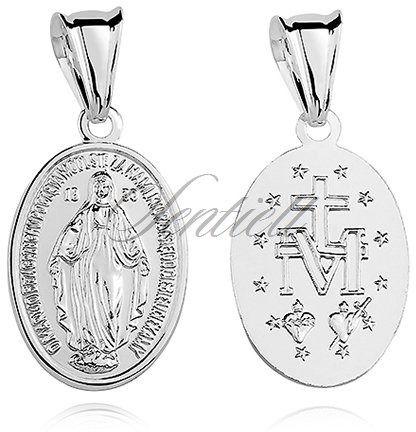 Srebrny medalik dwustronny pr.925 matka boska cudowna