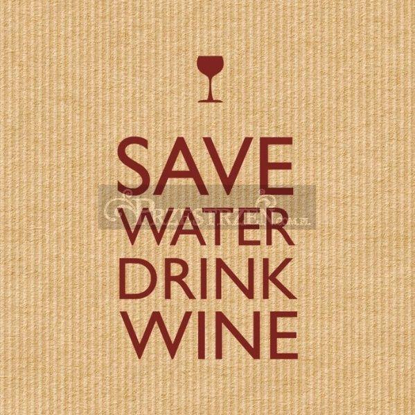 SERWETKI PAPIEROWE - Save Water Drink Wine BROWN 25x25 cm