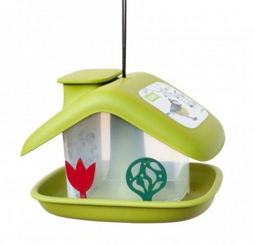 Domek karmnik dla ptaków, 21x17 cm tworzywo, Zielony
