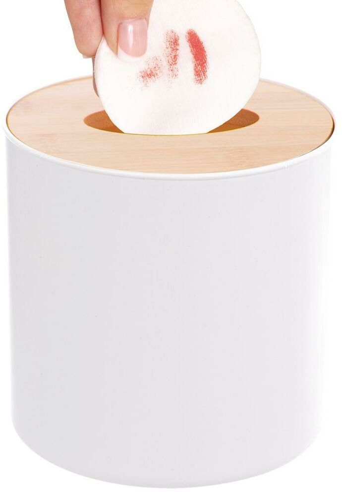Mini KOSZ ŁAZIENKOWY biały z bambusową pokrywką na śmieci odpady stołowy 1,5L