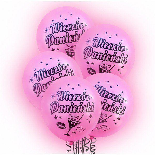Balony LED świecące Wieczór Panieński różowe 30cm 5 sztuk BAL100