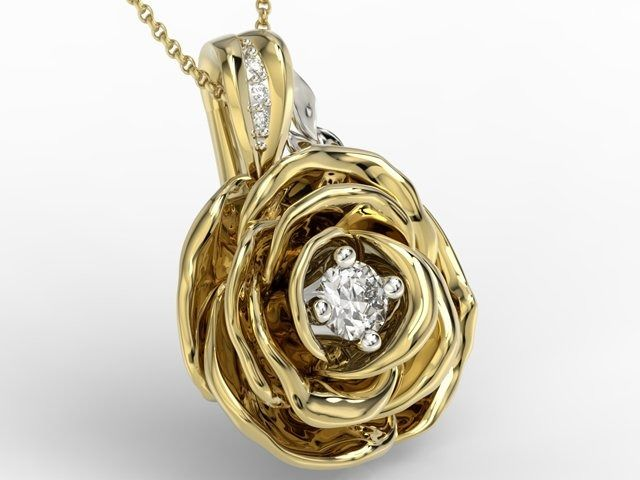 Wisiorek z żółtego i białego złota w kształcie róży z diamentami apw-95zb