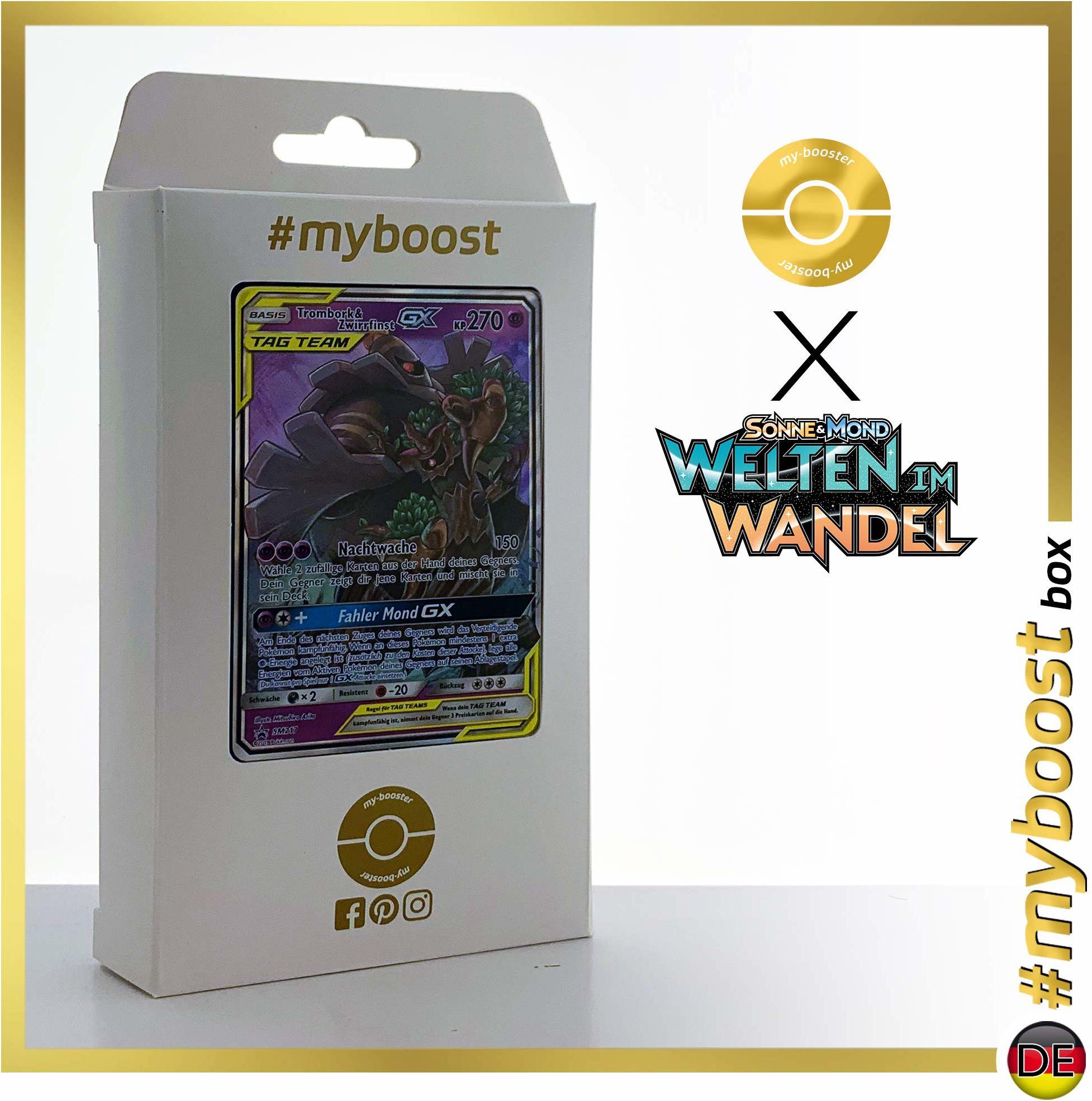 Trombork & Zwirrfinst-GX SM217  #myboost X słońce i księżyc 12 światów w zmianie  pudełko z 10 niemieckimi kartkami Pokémon