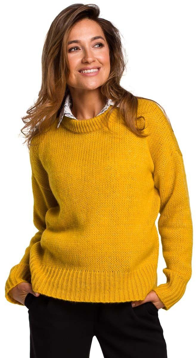 Miodowy Klasyczny Ciepły Sweter