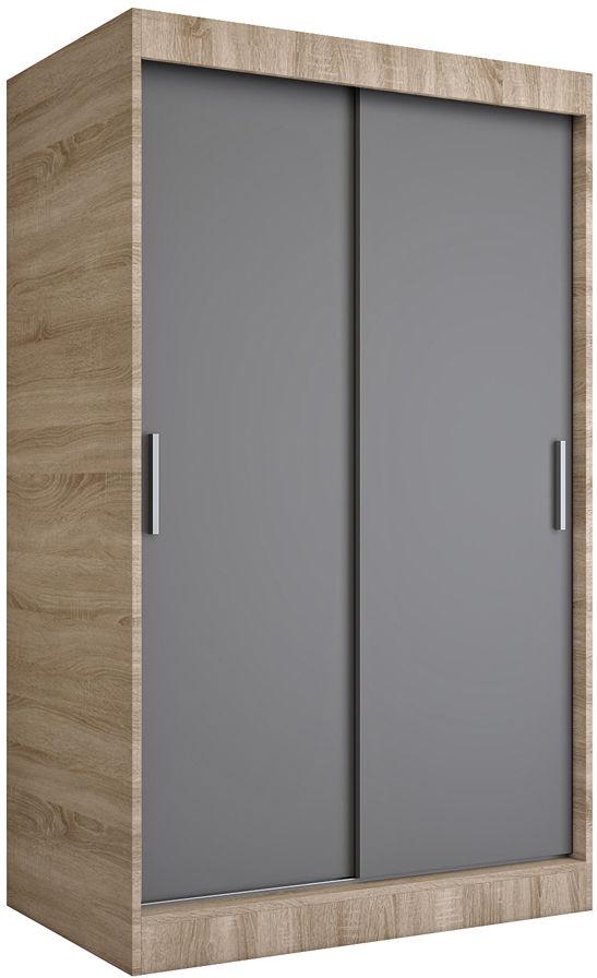 Szafa przesuwna dąb sonoma + antracyt 120 cm - Corina 3X