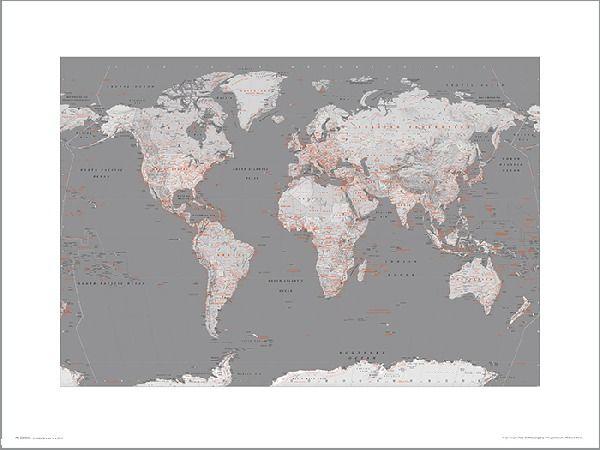 Mapa świata silver orange - plakat premium