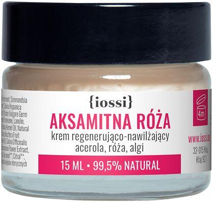 Iossi Aksamitna róża. Krem Regenerująco Nawilżający. Acerola, Róża, Algi. MINI, 15 ml