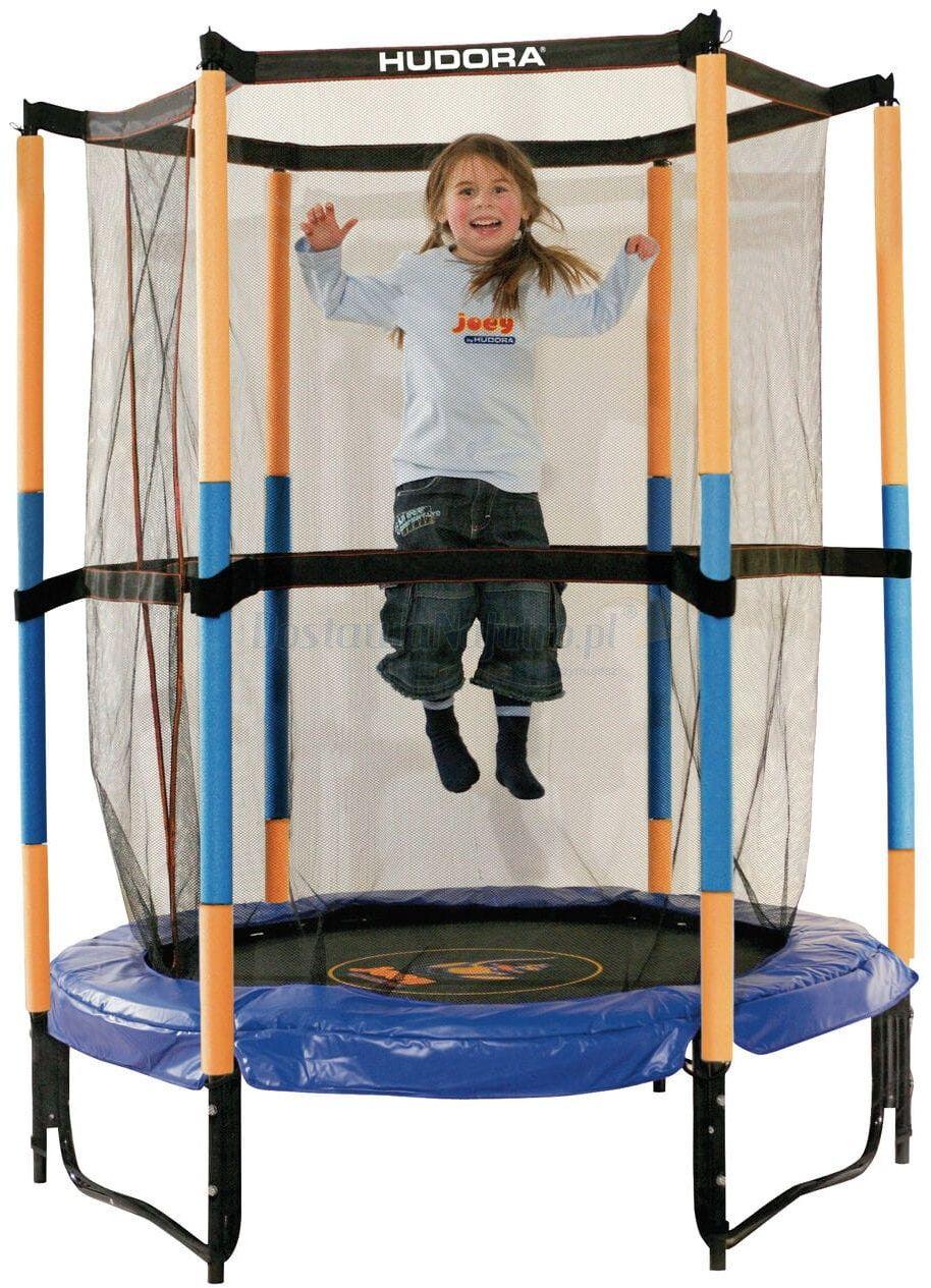 Trampolina Jump In 140 cm dla dzieci Hornet HUDORA do pokoju bezpieczna niebiesko-żółta