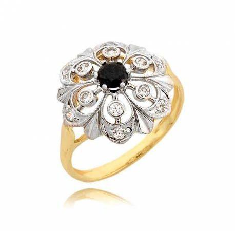 Śliczny złoty pierścionek z kwiatkiem z białego złota
