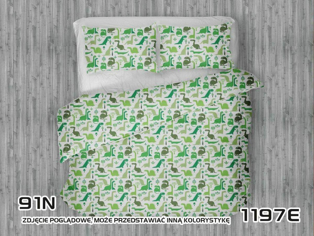 Pościel bawełniana 90x120 1197E biała Dinozaury zielone oliwkowe