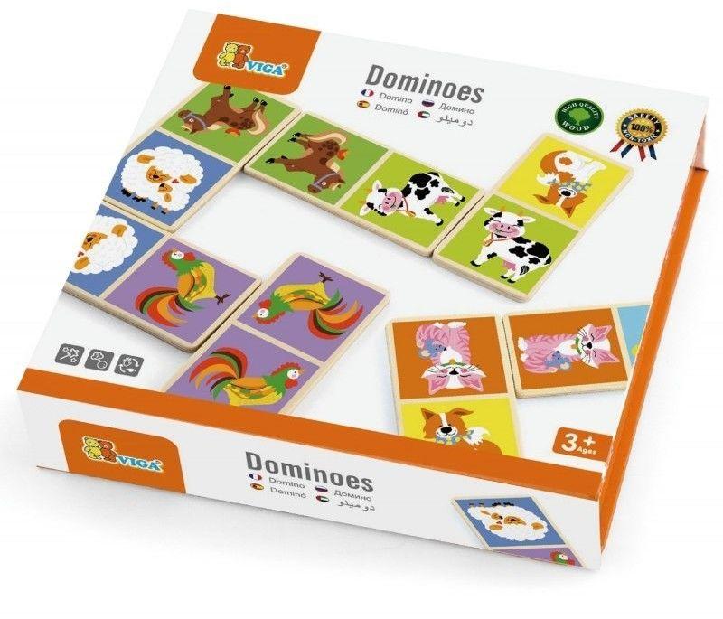 Edukacyjne Klocki Domino Drewniane gra Farma Viga Toys 28 elementów