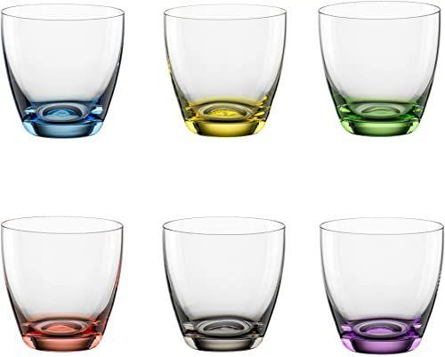 """Bohemia Cristal 093 006 165 zestaw 6 kubków """"Viva Colori"""" ok. 300 ml ze szkła kryształowego z kolorowym dekoracyjnym dnem w kolorze niebieskim, żółtym, zielonym, czerwonym, szarym, fioletowym"""