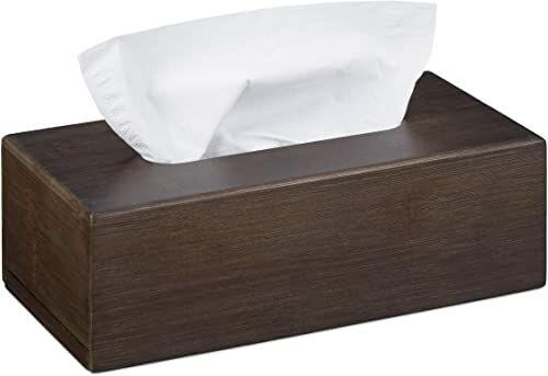 Relaxdays Bambusowe pudełko na chusteczki z przesuwanym dnem, pudełko na chusteczki higieniczne, wys. x szer. x gł.: 7,5 x 24 x 12 cm, ciemnobrązowe