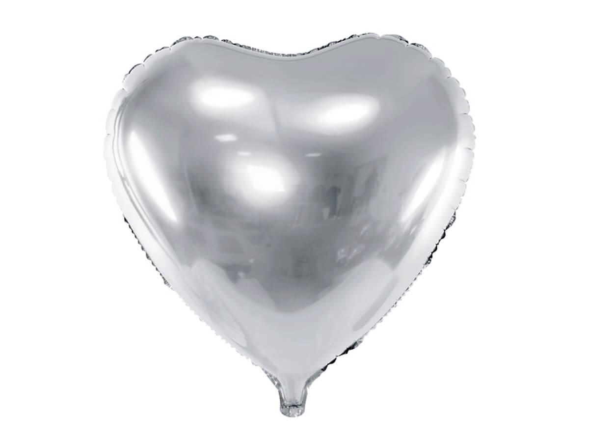 Balon foliowy Serce srebrne - 61 cm - 1 szt.