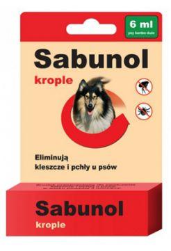 Sabunol Krople 6 ml dla Psa Przeciw Pchłom i Kleszczom