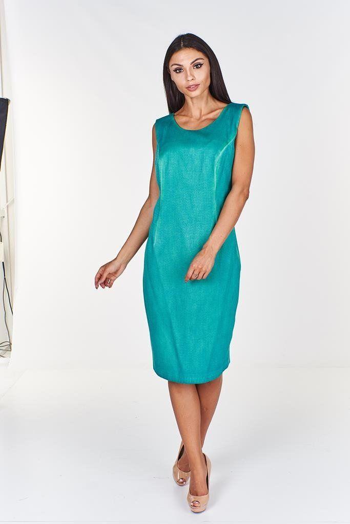 Sukienka FSU680 TURKUSOWY CIEMNY J