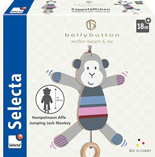 Selecta małpka, 26 cm, z drewna, belly button by selecta