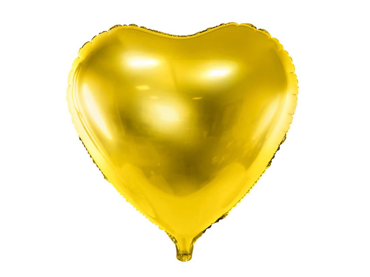 Balon foliowy Serce złote - 61 cm - 1 szt.
