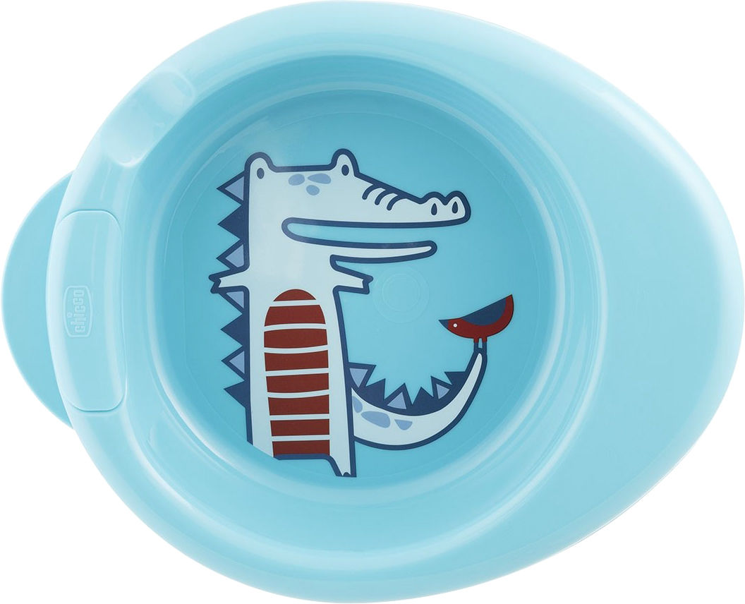 Chicco Podgrzewany talerz 6m+-niebieski do karmienia, trzy kolory