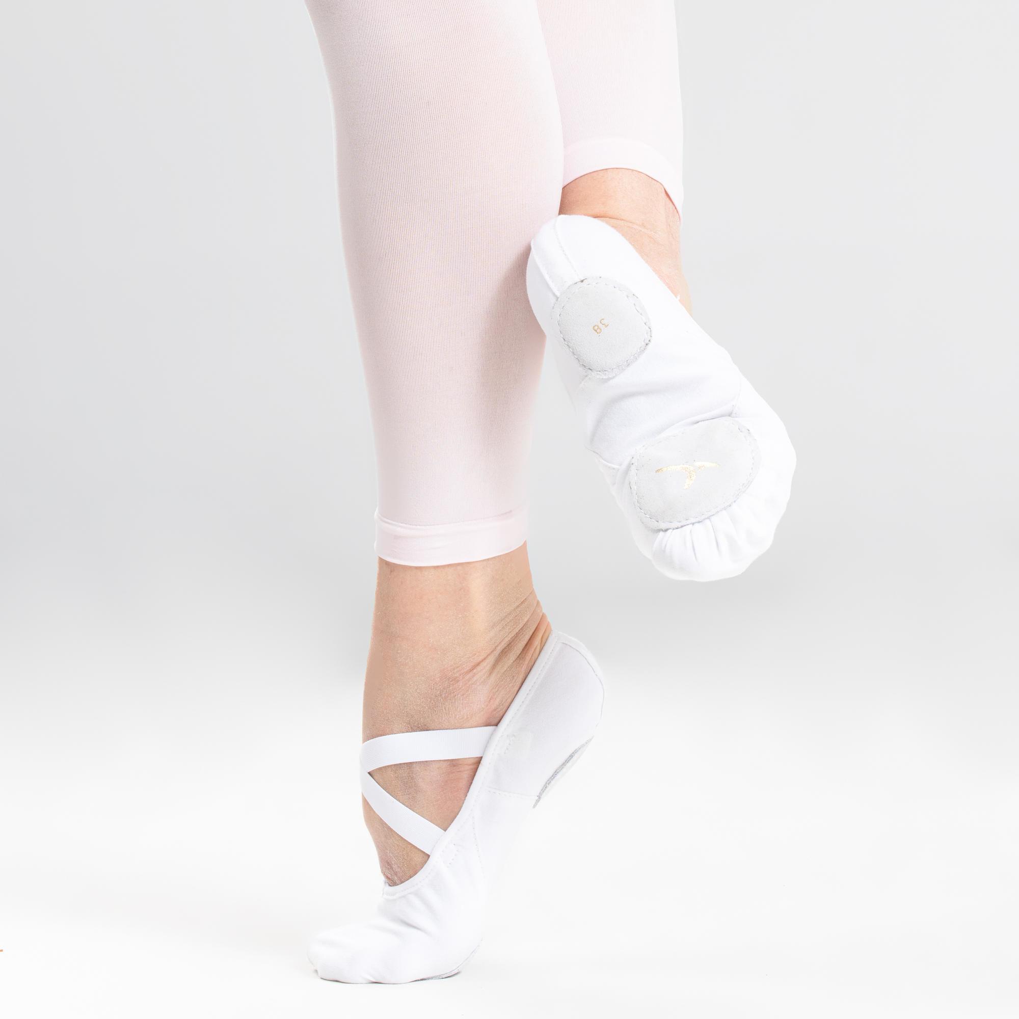 Baletki do tańca klasycznego dwudzielne płócienne białe rozm. 41-42