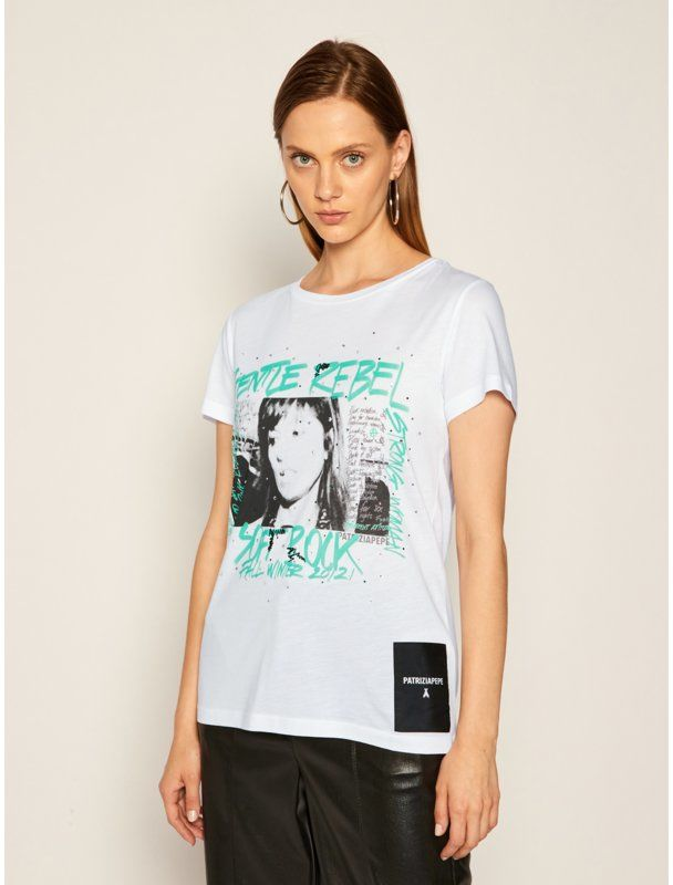 Patrizia Pepe T-Shirt 8M1070/A7K4-W103 Biały Regular Fit