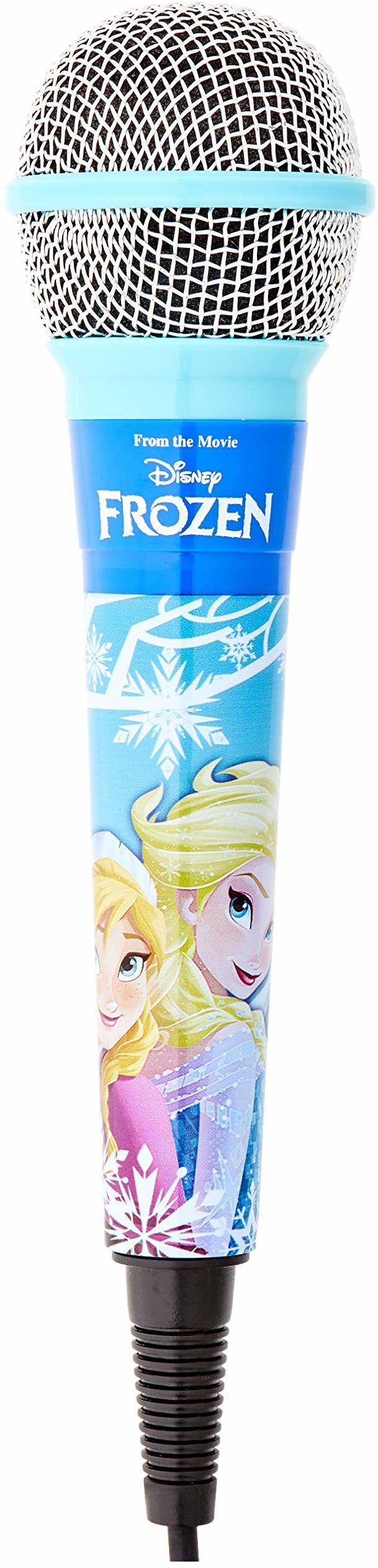 Lexibook mikrofon Disney Frozen Elsa, adapter 3,5 jack i 6,3 mm, wysoka czułość, do śpiewania z dziećmi lub przyjaciółmi, niebieski, MIC100FZ