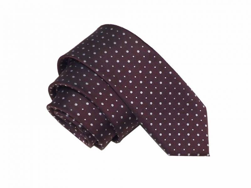 Elegancki krawat bordowy w drobny wzór