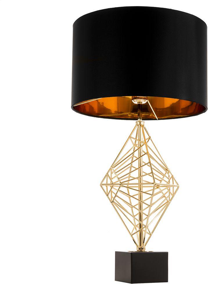 Lampa stołowa Caracas T01977AU COSMOLight czarno-złota oprawa w stylu nowoczesnym