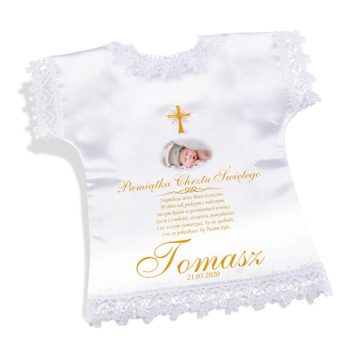 Szatka Złoty Krzyż na Chrzest Pamiątka Dowolne Zdjęcie Grafika
