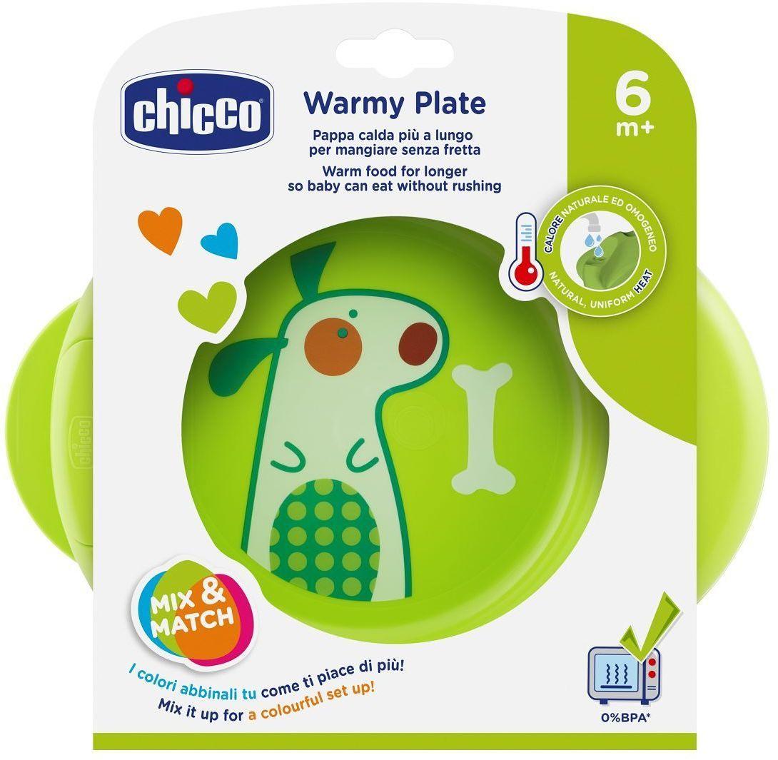 Chicco Podgrzewany talerz 6m+-zielony do karmienia, trzy kolory