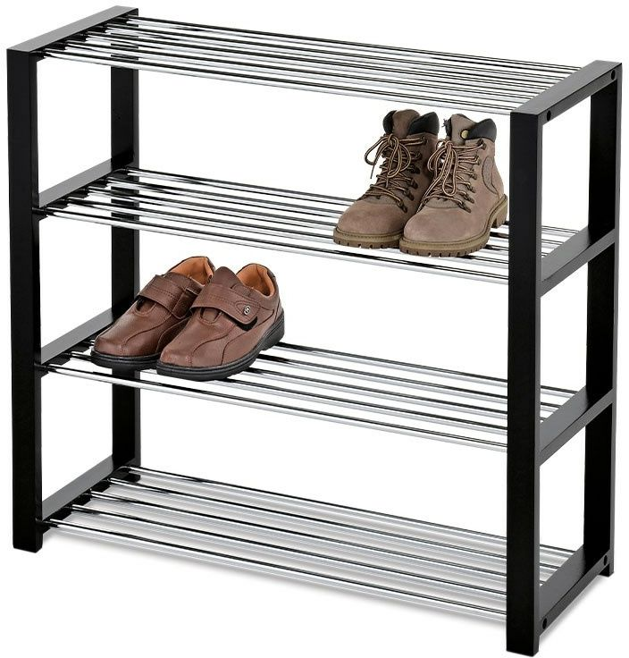 Szafka na buty 4 poziomy czarny/chrom, 81 x 30 x 73 cm