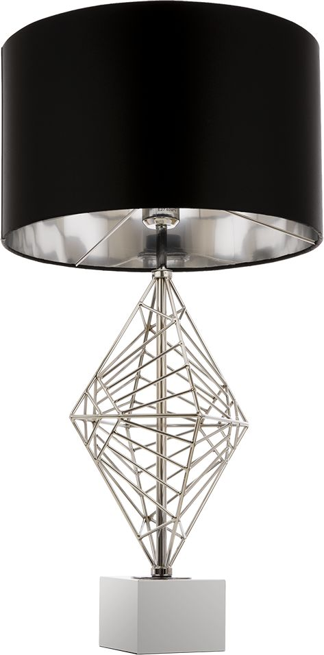 Lampa stołowa Caracas T01960CH COSMOLight czarno-chromowa oprawa w stylu nowoczesnym