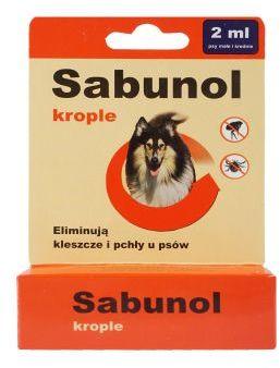 Sabunol Krople 2 ml dla Psa Przeciw Pchłom i Kleszczom