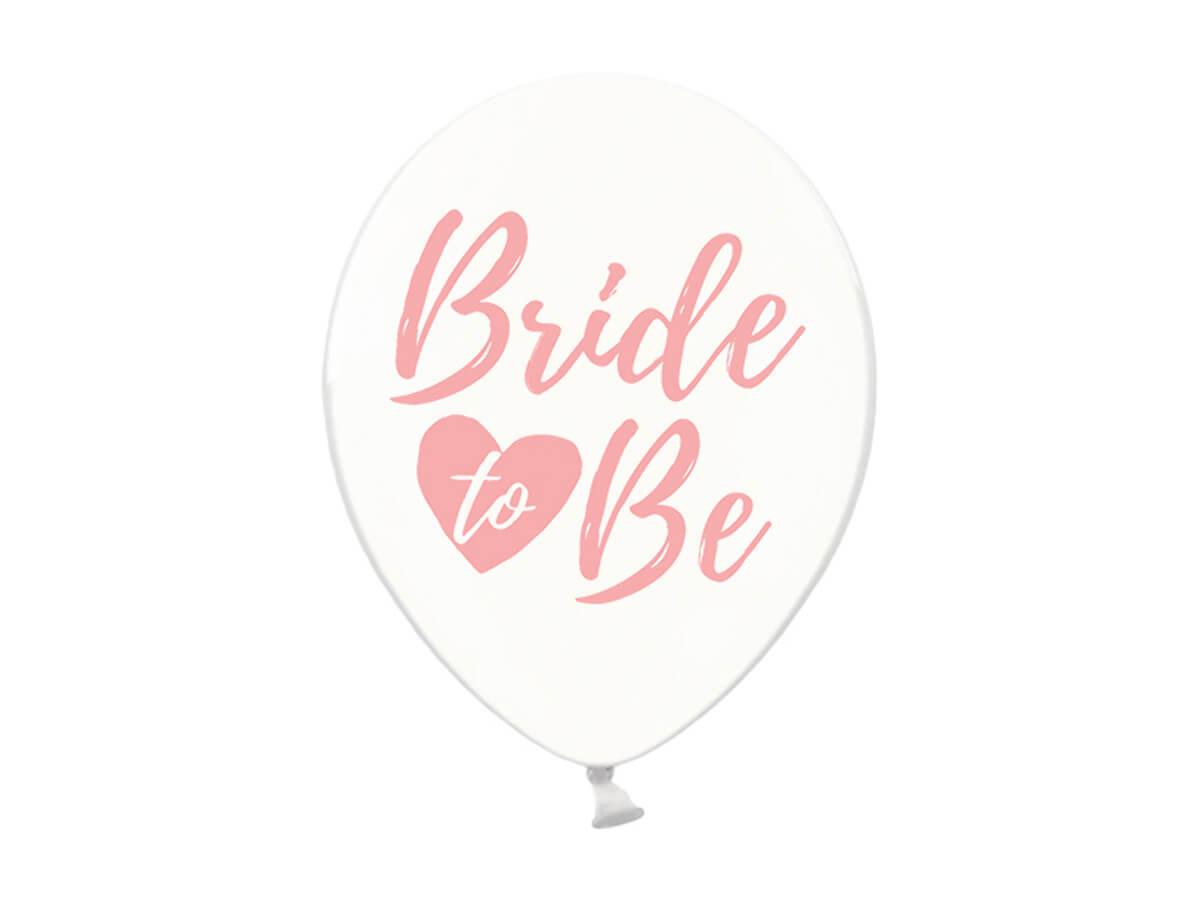 Balony przezroczyste z różowym nadrukiem Bride to be - 30 cm - 6 szt.