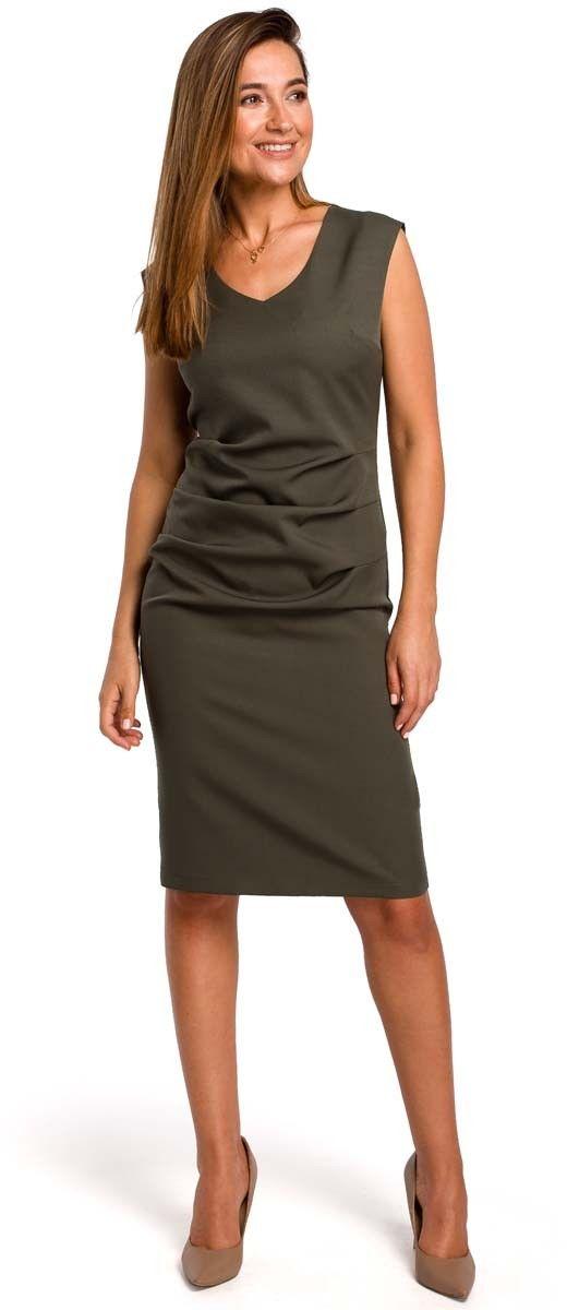 Khaki dopasowana sukienka bez rękawów z elementami drapowania