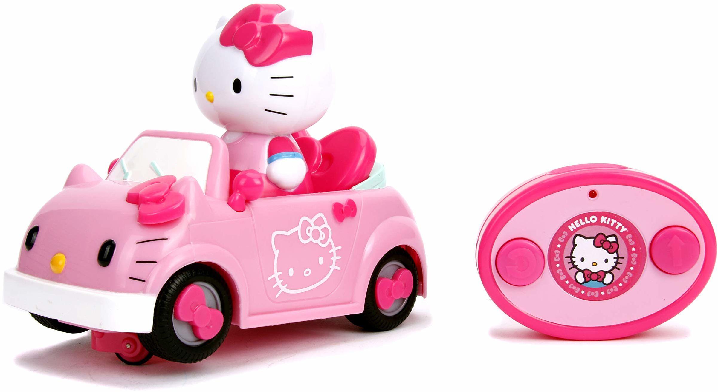 Dickie Hello Kitty 253244000 kabriolet sterowany radiowo samochód z 1 zdejmowaną figurką z efektami świetlnymi