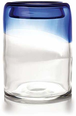 EUROCINSA Ref.14005 świecznik ze szkła, przezroczysty, niebieski, 17 Ø x 24 cm