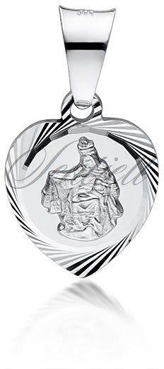 Srebrny medalik serce - jezus / matka boska szkaplerzna