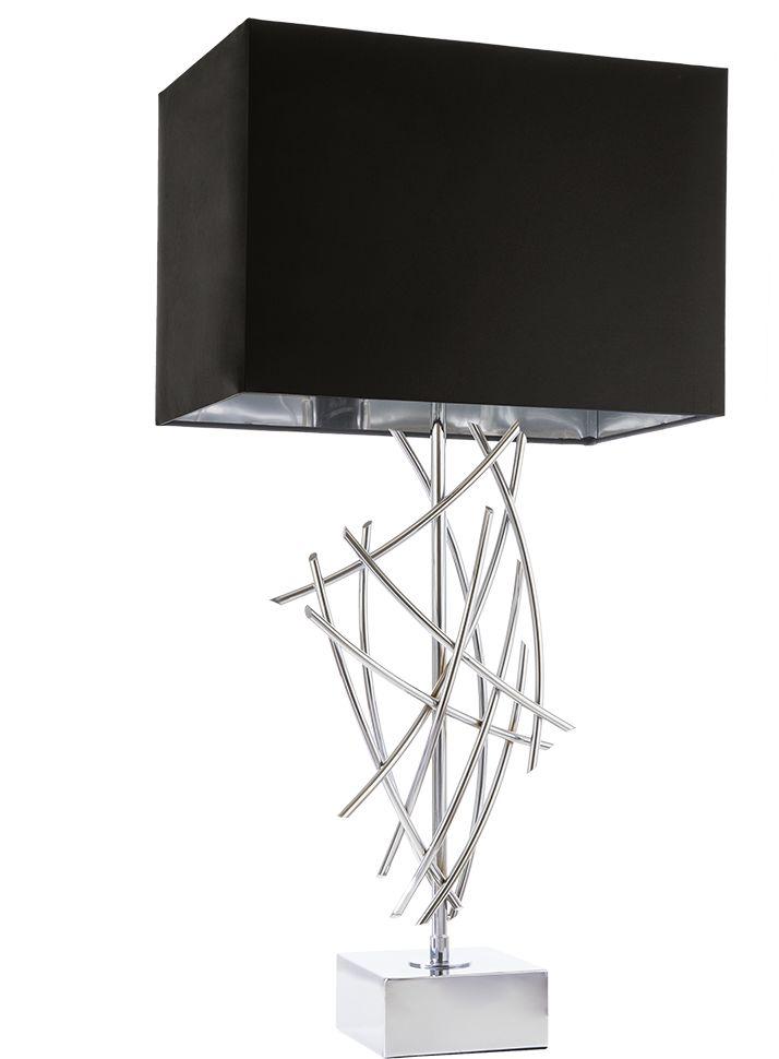 Lampa stołowa Panama T01953CH COSMOLight czarno-chromowa oprawa w stylu nowoczesnym