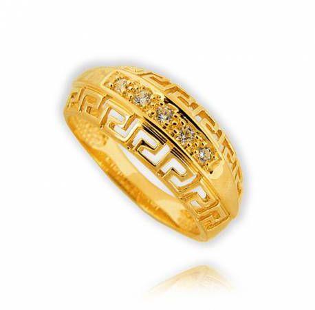Śliczny złoty pierścionek zygzak grecki wzor