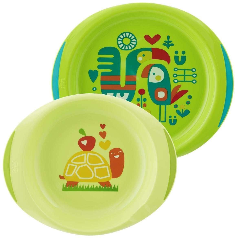 Chicco Zestaw 2 talerzy 12m+-zielony 3 kolory