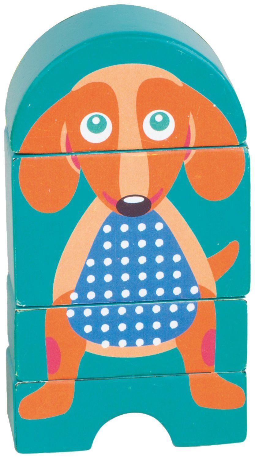 OOPS 16007.22 kolekcja zabawek Easy Click pies drewniane puzzle magnetyczne, wielokolorowe