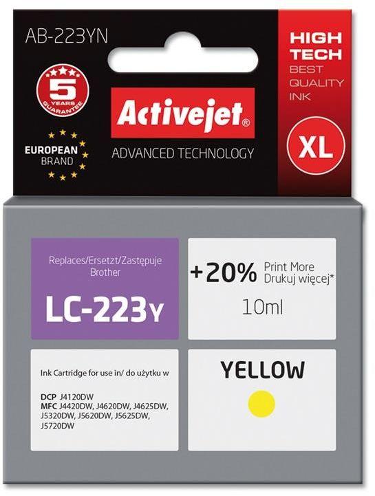 Tusz Activejet AB-223YN (zamiennik Brother LC223Y; Supreme; 10 ml; żółty)