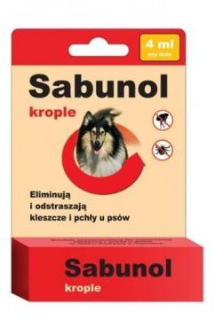 Sabunol Krople 4 ml dla Psa Przeciw Pchłom i Kleszczom