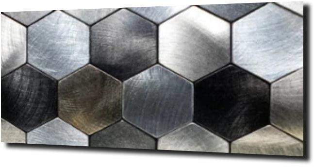 obraz na szkle Heksagon chrom metal