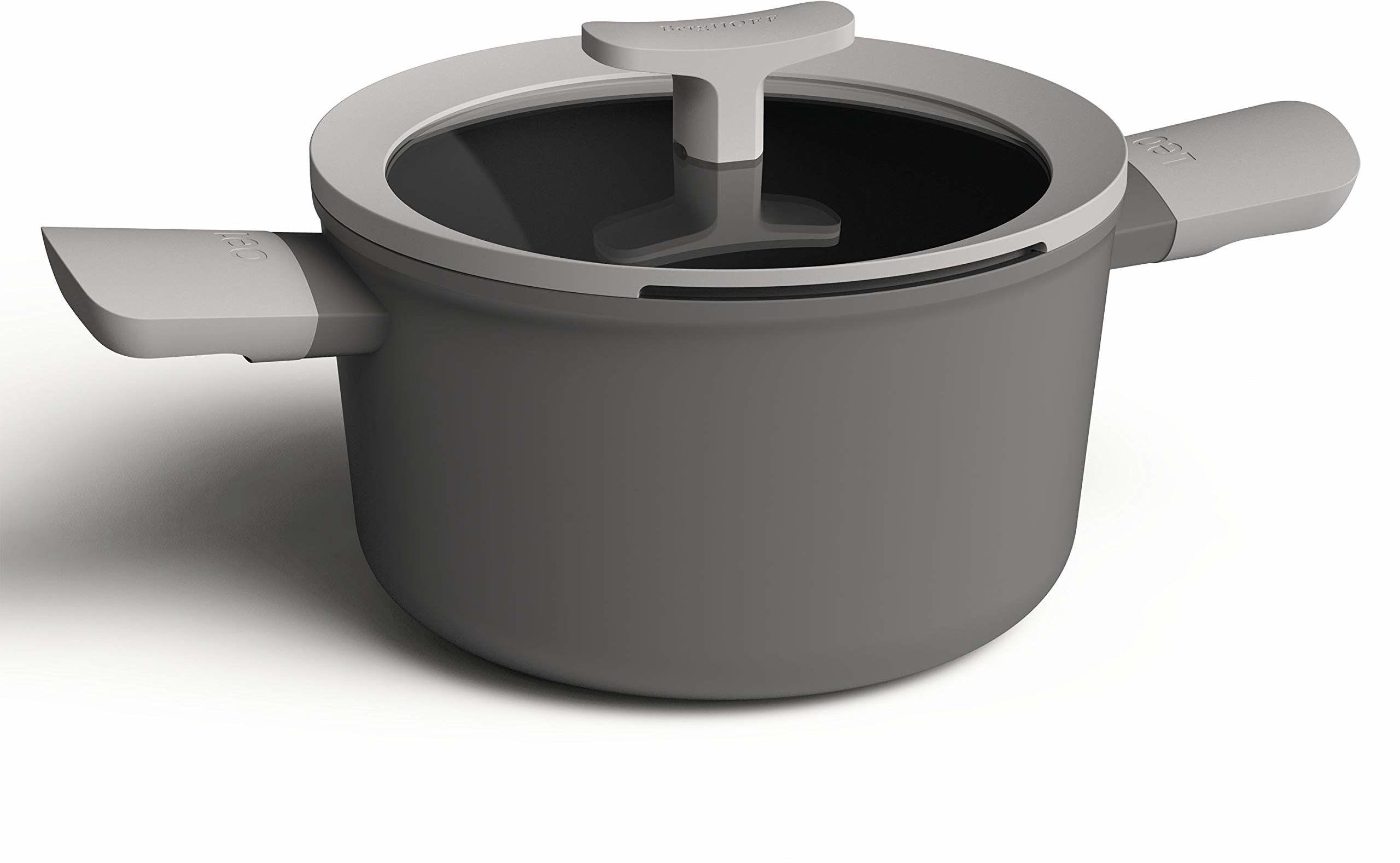 Berghoff 3950167 rondel z 2 uchwytami 20 cm, 3,1 l + pokrywka, aluminium, kuchenka indukcyjna, szary