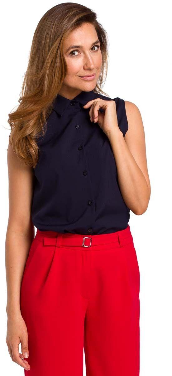 Granatowa koszulowa bluzka bez rękawów