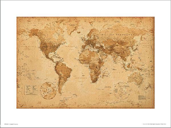 Mapa świata antique style - plakat premium