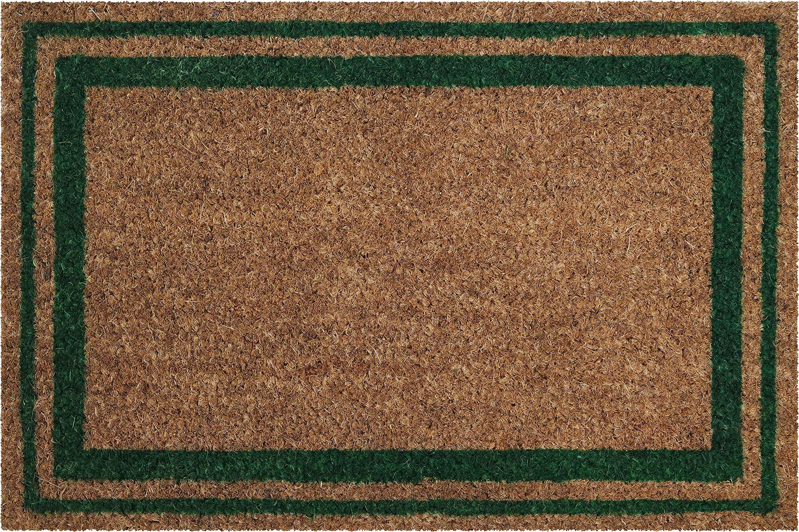 ID mat t 406007 Krawędzie Dywan Wycieraczka Materac kokosowy / PVC naturalny/zielony 60 x 40 x 1,5 cm