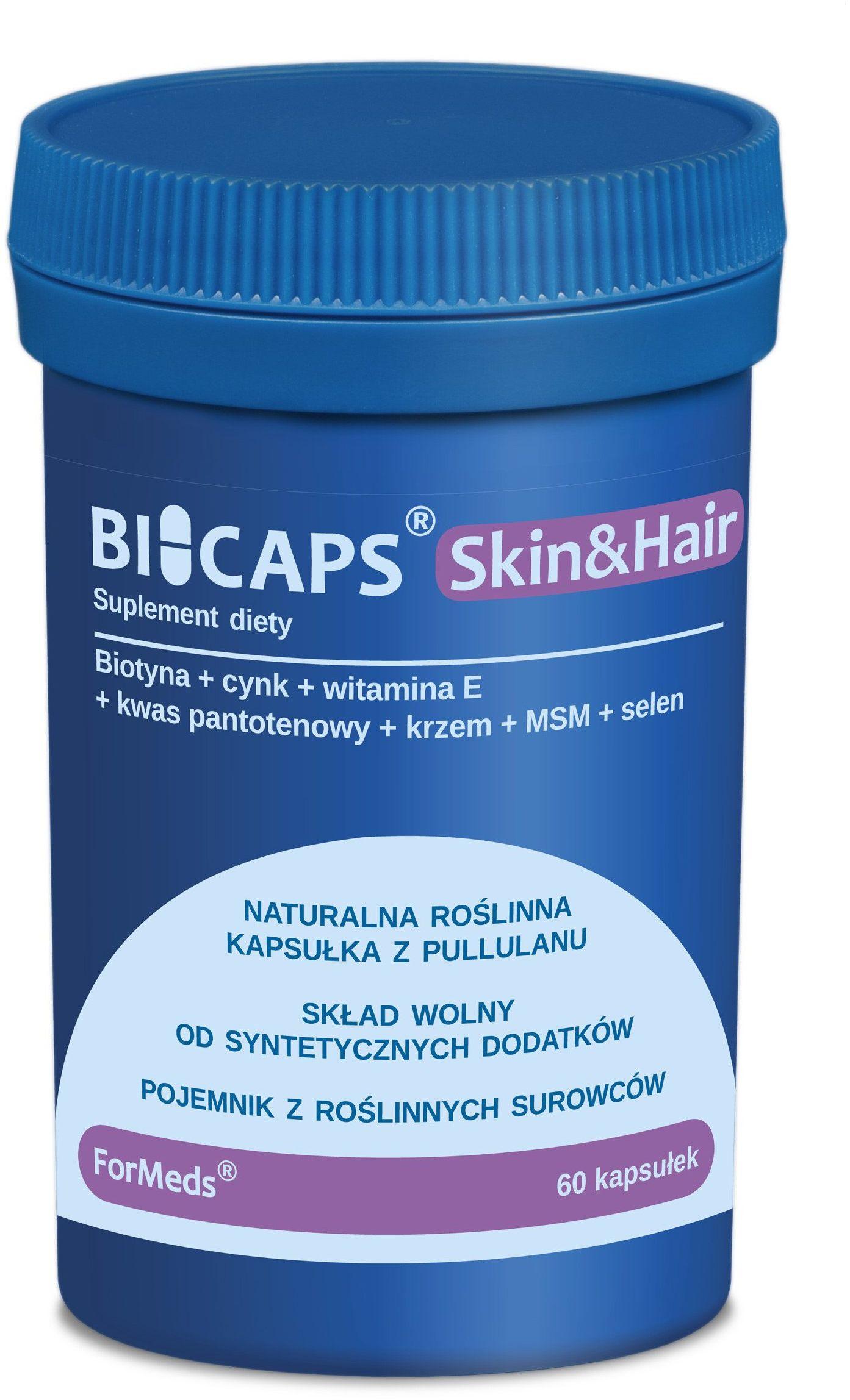 BICAPS Skin&Hair Włosy Skóra Paznokcie Biotyna + Cynk + Selen + MSM + Krzem + Witamina E (60 kaps) ForMeds